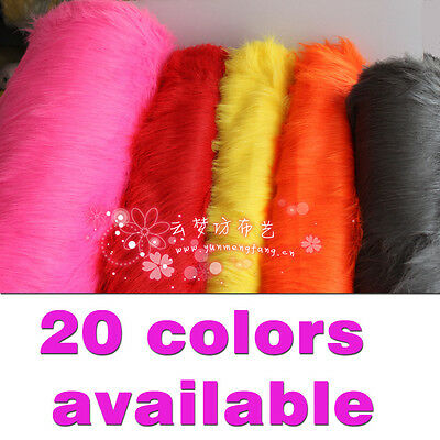 """SOLID SHAGGY FAUX FUR FABRIC LONG PILE FUR Costumes Photography Backdrop 60"""" BTY"""