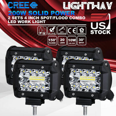 4X 4 inch 200w CREE LED Work Light Pod Spot Flood Combo Driving Light Offroad