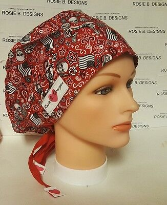 Patriotic Americans  Motorcycle/ Pixie Hat/ Scrub Surgical/ Medical/ Chemo Caps