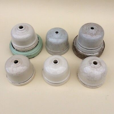 VINTAGE PORCELAIN ELECTRIC CORD DROP COVERS X6 Ceiling Fixture Face Plate Canopy
