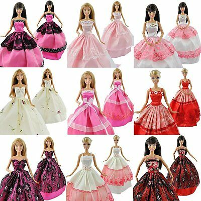 5pcs Funny Princess Party Dresses Wedding Clothes Outfits Gown For Barbie Doll