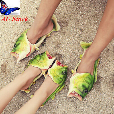 AU Mens Womens Unisex Fish Shower Slippers Funny Beach Shoes Bling Flip Flops