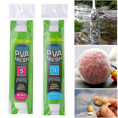 5M PVA 25/37mm Wide Mesh Refill Carp Fishing Stocking Boilie Rig Bait Wrap Bags