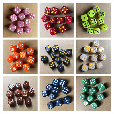 10Pcs 6 Sided D6 16mm Dice Acrylic Pearl Round Corner Dice Table Game Party Tool