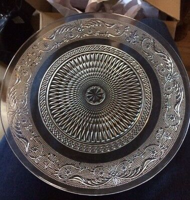 1950 Antique Crystal Serving Plate Dish Vintage Glass Pattern Platter Collectabl