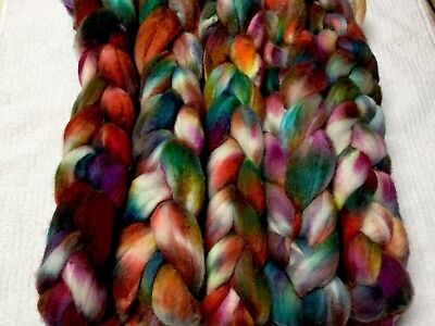 Hand Dyed Roving/ Tops 200 Grams / Carded Sparkly Batt 252 Grams