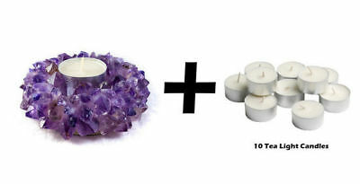 Amethyst TeaLight candle Holder Tea light Crystal Geniune Gemstones Brazil