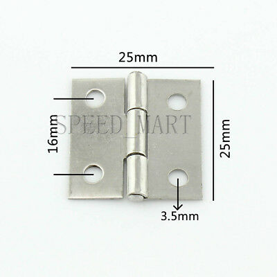 """25 x 25x 0.6mm Gray Metal 1"""" Small Butt Hinge for Door Gate Cabinet"""
