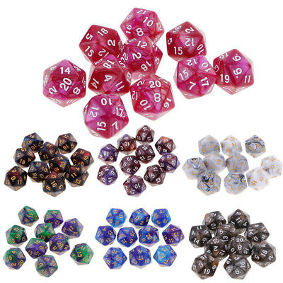 10pcs Set 20 Sided Dice D20 Polyhedral Dice for Dungeons and Dragons Table Games