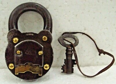 Old Iron&Brass Pad Lock & Key Working Made in Germany With 2 Turn Lock