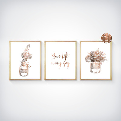 Copper Floral Prints // Roses // Flower poster // Love life // Wall Art Bedroom