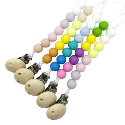 Pacifier Teething Silicone Baby Teether Chain Clip Bead Dummy Holders