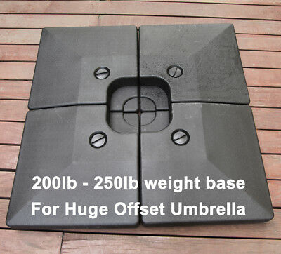 250Lbs Patio Cantilever Umbrella Weight Base Set of 4pcs Water Sand Filled Stand