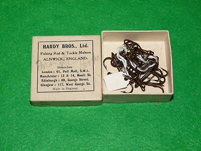 vintage Hardy card box with bronze eyes treble hooks for collector to use