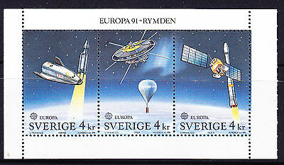 Sweden 1991 Europa Space  Booklet Pane - MNH