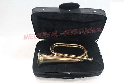"""Brass Trumpet Army Military Funeral Taps Cavalry B-Flat Bugle 13""""+Mouthpiece+Bag"""
