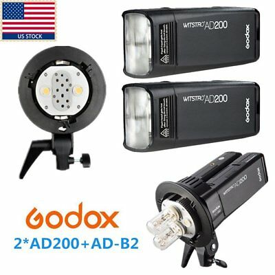 400W 2x Godox 2.4G TTL 1/8000s HSS Pocket Flash Speedlite +AD-B2 f Photography