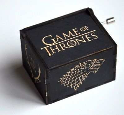 Engraved Wooden Music Box Game of Thrones tune Main Theme Black