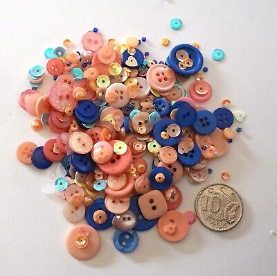 Embellishments 12 -100+ Pack Pink/blue Tone Buttons Beads Sequins-  Scrapbooking