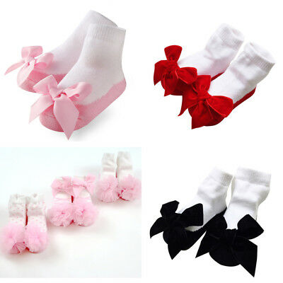 Baby Girl Tutu Socks Bow Lace Newborn Infant Frill Sock Cotton Socks 0-24 Months