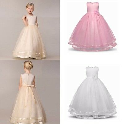 2017 Girls Kids Flower Princess Formal Party Wedding Bridesmaid Long Dress Tulle