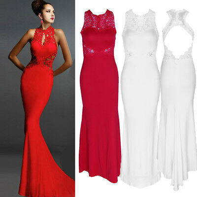 Womens Long Mermaid Dress Backless Evening Party Prom Bridesmaid Ball Gown Dress
