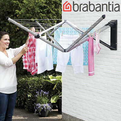 Brabantia WallFix Folding 24m Clothesline w Cover Wall Fix Washing Clothes Line