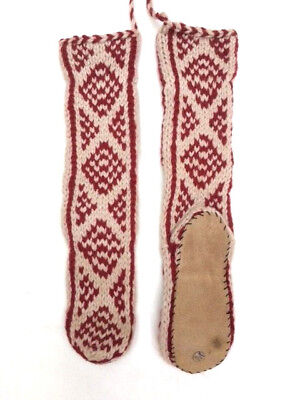 FAIRTRADE hippy WOOL mix HAND knit AFGHAN slipper SOCKS leather SOLE 6-7-8 M07