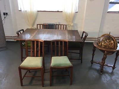 Vintage Oak drawer leaf table With 6 Matching Chairs