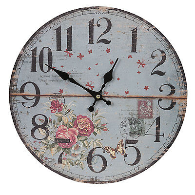 Clayre & Eef Vintage Wall Clock Nostalgia Watch Country House Roses Blue Red