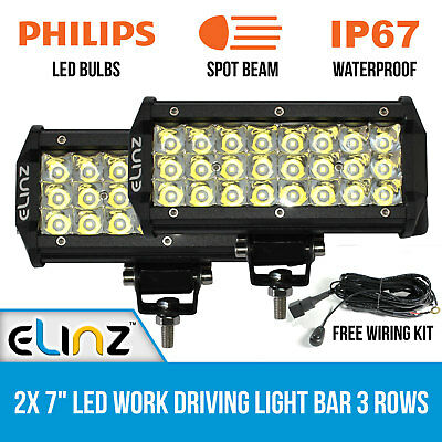 "2x 7"" LED Work Driving Light Bar Philips Spot 3 Rows 12V 24V - OUT OF STOCK"