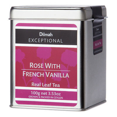 NEW Dilmah Exceptional Rose With French Vanilla Tin Caddy 100g