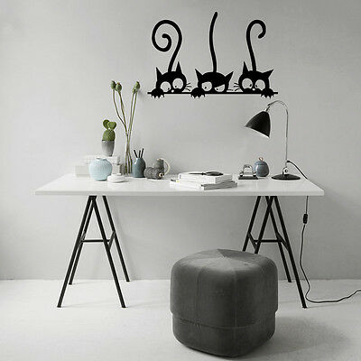 Room Decor Three Black Cats Removable DIY Wall Stickers Vinyl Decal Mural Art