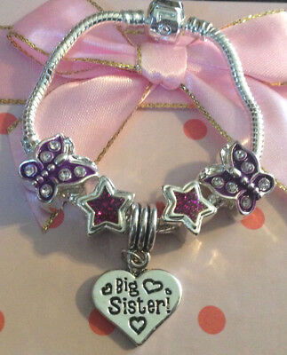 Personalised baby childrens girls purple star butterfly charm bracelet gift box