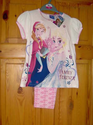 Girls Disney 'Frozen' Pyjamas 'Family Forever'  - Pink/White Ages 2/3 -5/6 Year