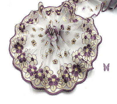 1/5yds Wide Floral Embroidered Tulle Mesh Purple Lace Trim Wedding Bridal Sewing