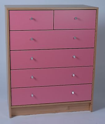 Madison 4+2 Chest of Drawers in Pine & Pink Effect