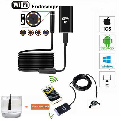 WIFI 8mm Endoscope Borescope Snake Inspection Camera Scope for Android iPhone PC