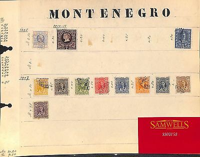 SS3158 1895-1913 MONTENEGRO. Original album page from old-time collection