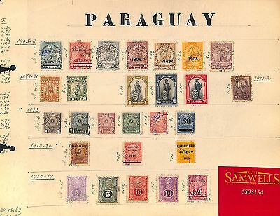 SS3154 PARAGUAY 1879-1920 Original album page from old-time collection