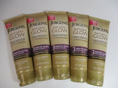 5 JERGENS NATURAL GLOW 3 DAYS TO GLOW FAIR-MED MOISTURE 4 oz EA EXP 2/18+JL 3278