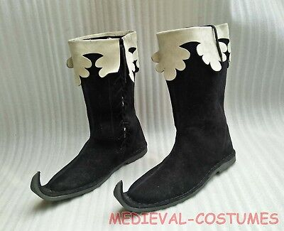 03Men's Medieval Style Hand Made Leather Shoes Pirate Movie Boot size 10.5