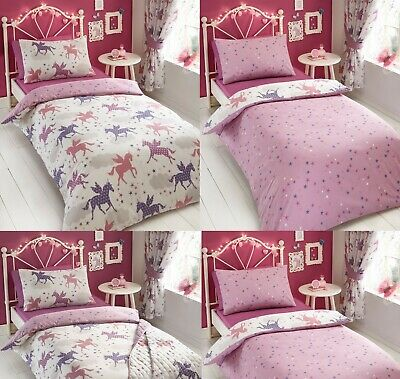Divine Unicorn Quilt-Duvet Cover Sets With Pillow Case Included,Polyester/Cotton