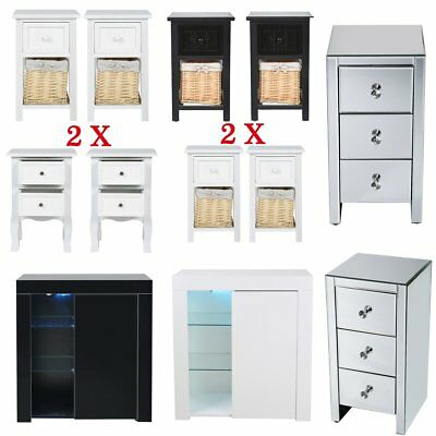 1 / 2pcs Glass Mirrored Bedside Cabinet Table Wooden Nightstand With Drawer new
