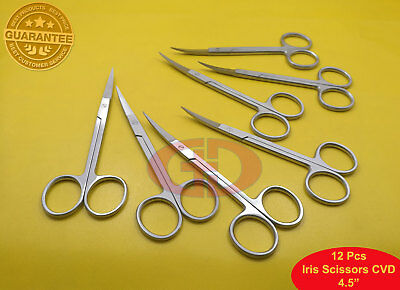 "12 Iris Scissors Curved 4.5"" Surgical Dental Instruments GD"