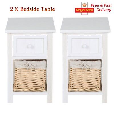 Pair Bedroom Bedside Table Unit Cabinet Nightstand with Wicker Basket Drawers UK