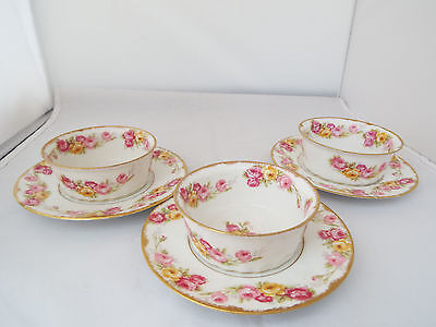 ANTIQUE RARE LIMOGES ELITE 3 x HANDPAINTED FINGER/SWEETMEAT BOWLS/STANDS c.1910