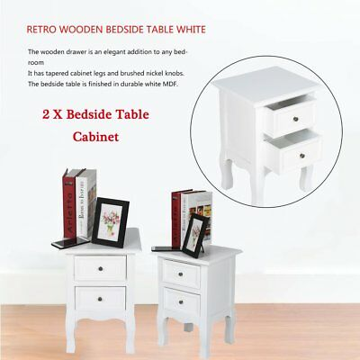 Pair Of Shabby Chic White Bedside Table Unit Cabinet Nightstand 2 Drawer Wooden