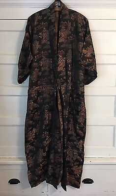 Vintage Asian Brocade Black Gold Red Pockets kimono robe duster jacket Mint