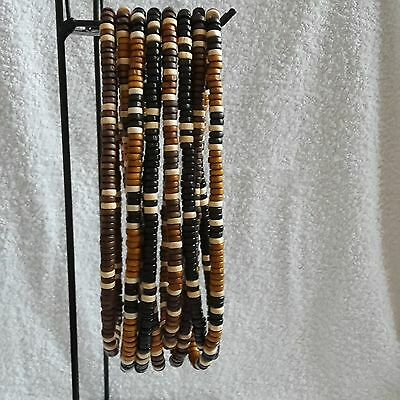 Mens/teens Tribal/surfer Wooden Bead Necklace Elasticated/stretch - Approx. 18""